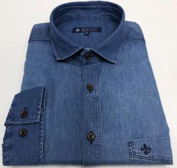 viaandrea camisa dudalina manga longa com bolso confort fit 1