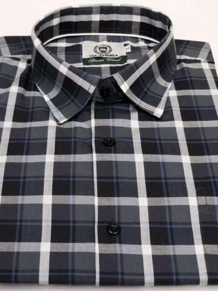 viaandrea camisa via andrea manga curta com bolso xadrez largo 1