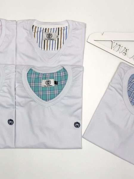 viaandrea pijama gola v aberto manga curta com short 2