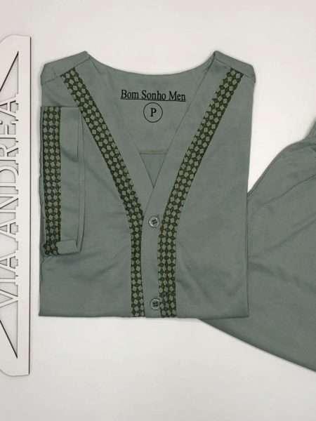 viaandrea pijama gola v aberto manga curta com short bege tamanho 48 5