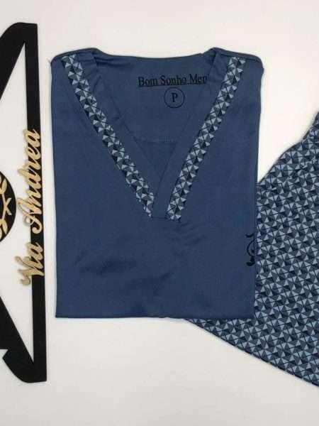 viaandrea pijama gola v manga curta com short marinho tamanho gg 2