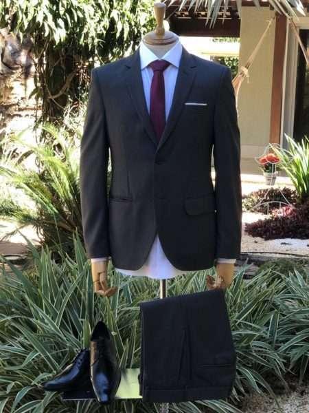 viaandrea terno costume danithais slim fit poliviscose cinza escuro tamanho 52