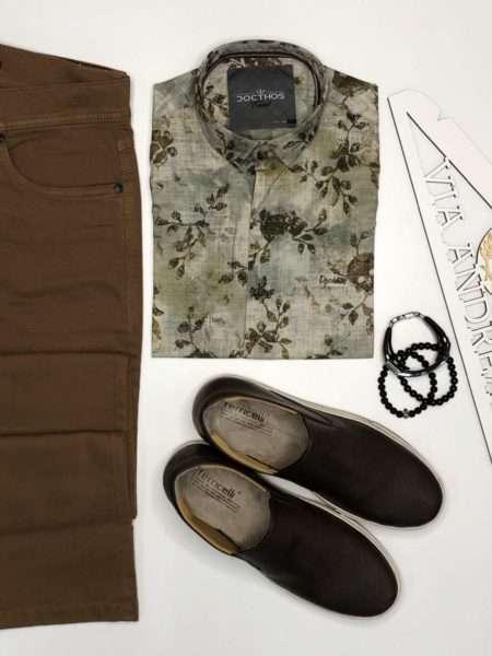 viaandrea camisa docthos manga curta floral slim