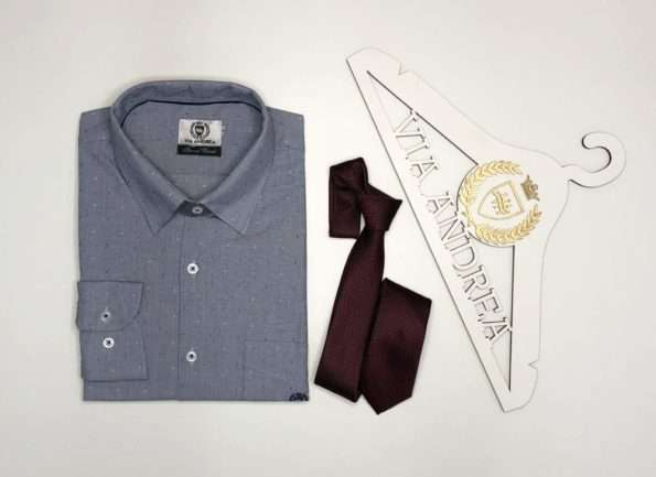 viaandrea camisa via andrea manga longa com bolso tradicional trabalhado azul claro tamanho 3