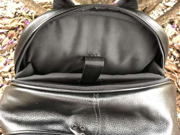 viaandrea mochila em couro com porta notebook 14