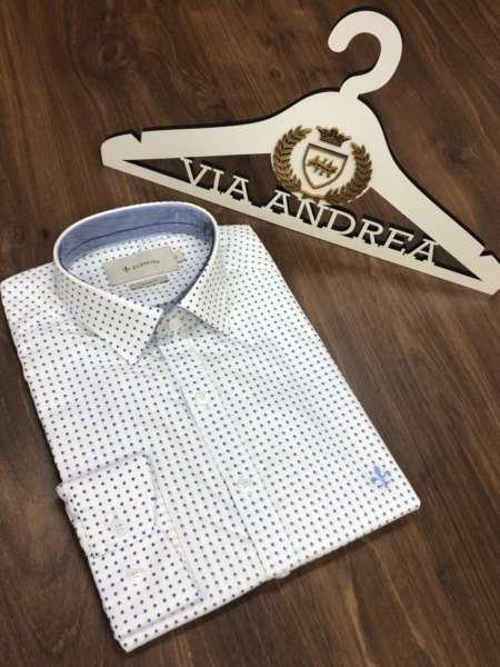 viaandrea camisa dudalina milano fit poa azul 1